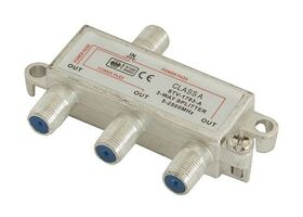 STV-1783-A 3-Way Broadband Splitter 5-2500 MHz with Ground Block, Power Pass in All Ports