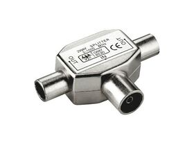 Fenger K01 2-Way Splitter, 1 x IEC Female to 2 x IEC Male, Shielded Metal, 5-1000 MHz