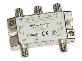 Ikusi UDF-408 4-Way Broadband Splitter 5-2400 MHz, Power Pass in All Ports
